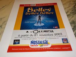 ANCIENNE  PUBLICITE BELLES BELLES BELLES  RADIO NOSTALGIE  2003 - Andere