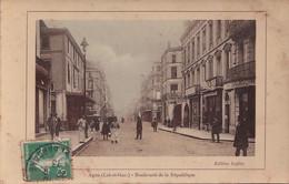 O17-47) AGEN - BOULEVARD DE LA REPUBLIQUE - ( ANIMATION - HABITANTS - BOUCHER - EDITION LAFITTE ) - Agen