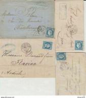 LOT De CàD De GARES : Lille, Caen, Vienne, Tours Sur N° 60 A Et C - 1871-1875 Ceres