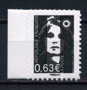 """ADHESIF N° 923 MARIANNE DE BRIAT 0,63e En NOIR Et BLANC DU CARNET """" La République Au Fil Du Timbre NEUF ** - 1989-96 Bicentenial Marianne"""
