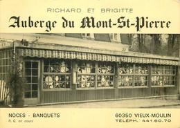 CARTE DE VISITE. Style Carte Postale 60 Vieux Moulin. Auberge Mont Saint-Pierre Pour Noces Et Banquets - Cartoncini Da Visita