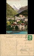 """Interlaken Teilansicht Stadt Mit Alpen Berg """"Jungfrau 4166 M."""" 1909 - BE Berne"""