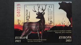 Kosovo Block ++, EUROPA/CEPT 2021, Bedrohte Tiere - Kosovo