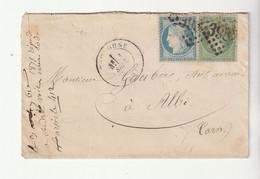 Lettre Avec Affranchissement Mixte Du 1er Septembre 1871, 1er Jour Du Tarif, Cérès Siége N°37 + Napoléon N°20: 25c - 1863-1870 Napoléon III. Laure