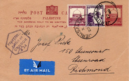Palestine-USA Richmond 1940 Censored Judaica Uprated Postal Card I - Palestina