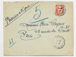 GANDON 10FR ORANGE  SEUL  PNEUMATIQUE PARIS 9.1.1946  AU TARIF PEU COMMUN - 1945-54 Marianna Di Gandon