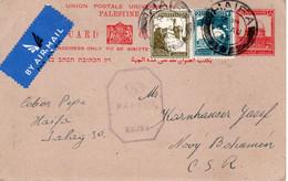 Palestine-CSR  Novy Bohemn 1945 Censored Judaica Uprated Postal Card II - Palestina