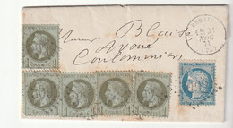 Lettre Avec Affranchissement Mixte Du 21 Novembre 1871, Cérès Siége N°37 + Napoléon N°25 : 25c - 1863-1870 Napoleon III With Laurels