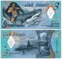 COOK ISLANDS 3 DOLLARS 2021 P NEW - UNC (POLYMER) - Cook Islands