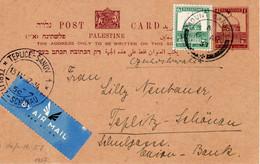 Palestine-CSR Teplice Sanov 1937 Judaica Uprated Postal Card With Arrival PM IV - Palestina