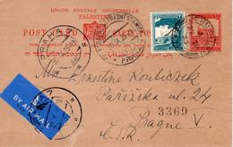 Palestine-CSR Prague 1935 Judaica Uprated Postal Card With Arrival PM VI - Palestina