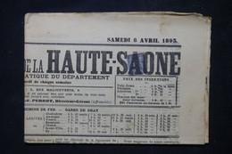 FRANCE - Annulation Typographique Sur Type Sage 1ct Sur Journal De La Haute Saône En 1893  - L 102832 - 1877-1920: Periodo Semi Moderno