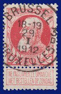 """COB N° 74 - 10c Carmin - Oblitération CONCOURS """"BRUSSEL 3D BRUXELLES"""" - 1905 Grove Baard"""