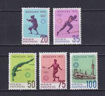 INDONESIA 1972, Mi# 711-715, Sport, Olympics Munich, MNH - Verano 1972: Munich