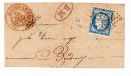 Timbre Cérès 25 Centimes 1874 Salies De Béarn Pyrénées-Atlantiques Pour Bordeaux - 1871-1875 Ceres