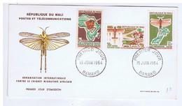MALI - BAMAKO - Premier Jour - Organisation Internationale Contre Le Criquet Migrateur Africain - 1964 - Sur Enveloppe - Mali (1959-...)