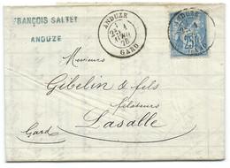 25c SAGE SUR ENVELOPPE / ANDUZE GARD 1878 POUR LASALLE / LAC - 1877-1920: Période Semi Moderne