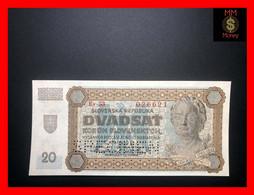 "SLOVAKIA  20 Korun  11.9.1942   P. 7 S  Perforated  ""specimen""   *rare*    UNC - Slovacchia"