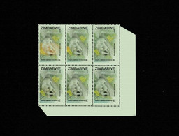 2008 Block Of Six Stamps With One Stamp With A Bright Patch, Perforated, Glued And Mint - Zimbabwe (1980-...)