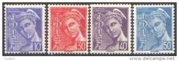 France Mercure N°  546 à 549 ** Les - 10 30 40 Et 50 Centimes - Légende Poste Française - 1938-42 Mercurio