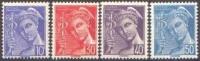 France Mercure - N°  546 à 549 * Les 10 30 40 Et 50 Centimes - Légende Poste Française - 1938-42 Mercurio
