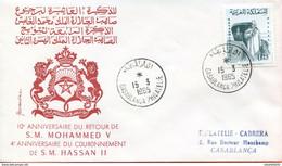 "Maroc,FDC 1er Jour;1965,TP N°483 "" 10ème Anniversaire Du Retour De Mohamed V ""Morocco,Marruecos - Morocco (1956-...)"