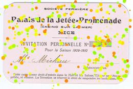 T/ Casino Cercle/ France/ 1909-1910 Société Fermière Du Palais De La Jetée / @ Steevbe - Toegangskaarten