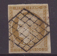 FRANCE : N° 1 . OBL . PLI HORIZONTAL . SIGNE SCHELLER . 1850 . - 1849-1850 Cérès