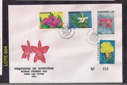 Honduras Série Orquideas En Couverture Premier Jour De Diffusion - Orchids