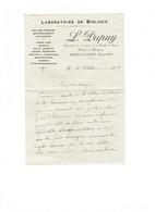 Correspondance Cachet Pharmacien DUPUY Montluçon - Laboratoire De Biologie Analyses Chimiques Urines Wassermann 1918 - Seals Of Generality