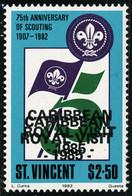 Neuf Sans Charnière N° 889, 2d50, 75è Anniversaire Du Scoutisme, Double Surcharge, Carribean Royal Visit 1985. T.B. - Unclassified