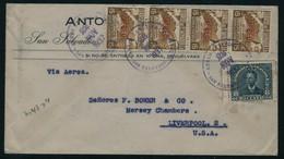 Lettre N°47 X 4ex + T.P. N°516 S/Lettre. CàD San Salvador 22 Nov 1937 Pour Liverpool (USA). T.B. - Unclassified