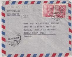 1954 - ESPAGNE - ENVELOPPE RECOMMANDEE AVION De LAS PALMES (CANARIES) ! => COLMAR - 1951-60 Cartas