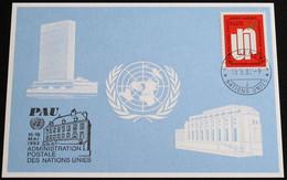 UNO GENF 1982 Mi-Nr. 109 Blaue Karte - Blue Card Mit Erinnerungsstempel PAU - Lettres & Documents