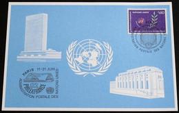 UNO GENF 1982 Mi-Nr. 111 Blaue Karte - Blue Card Mit Erinnerungsstempel PHILEXFRANCE 82 PARIS - Lettres & Documents