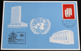 UNO GENF 1982 Mi-Nr. 112 Blaue Karte - Blue Card Mit Erinnerungsstempel SORLAND 82 KRISTIANSAND - Lettres & Documents