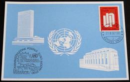 UNO GENF 1982 Mi-Nr. 113 Blaue Karte - Blue Card Mit Erinnerungsstempel RICCIONE - Lettres & Documents