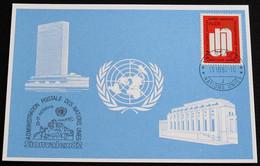 UNO GENF 1982 Mi-Nr. 115 Blaue Karte - Blue Card Mit Erinnerungsstempel SIONVALEX 82 SION - Lettres & Documents