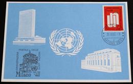 UNO GENF 1982 Mi-Nr. 116 Blaue Karte - Blue Card Mit Erinnerungsstempel MAILAND - Lettres & Documents