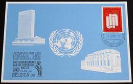 UNO GENF 1982 Mi-Nr. 118 Blaue Karte - Blue Card Mit Erinnerungsstempel BELGICA 82 BRÜSSEL - Lettres & Documents