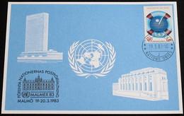 UNO GENF 1983 Mi-Nr. 121 Blaue Karte - Blue Card Mit Erinnerungsstempel MALMEX 82 MALMÖ - Lettres & Documents