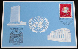 UNO GENF 1983 Mi-Nr. 123 Blaue Karte - Blue Card Mit Erinnerungsstempel TEMBAL 83 BASEL - Lettres & Documents
