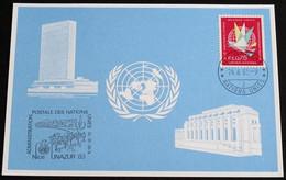 UNO GENF 1983 Mi-Nr. 124 Blaue Karte - Blue Card Mit Erinnerungsstempel UNAZUR 83 NIZZA - Lettres & Documents