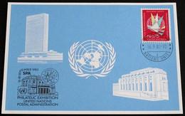UNO GENF 1983 Mi-Nr. 125 Blaue Karte - Blue Card Mit Erinnerungsstempel SPA - Lettres & Documents