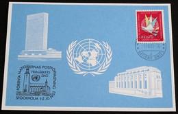 UNO GENF 1983 Mi-Nr. 126 Blaue Karte - Blue Card Mit Erinnerungsstempel STOCKHOLM - Lettres & Documents