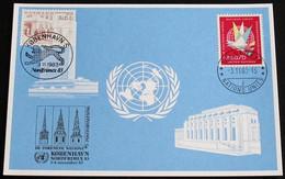 UNO GENF 1983 Mi-Nr. 128 Blaue Karte - Blue Card Mit Erinnerungsstempel KOPENHAGEN - Lettres & Documents