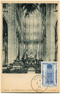 FRANCE CARTE MAXIMUM DU N°666 CATHEDRALE DE BEAUVAIS AVEC OBLITERATION BEAUVAIS 3-3-45 OISE (dernier Jour) - 1940-49