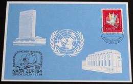 UNO GENF 1984 Mi-Nr. 135 Blaue Karte - Blue Card Mit Erinnerungsstempel NABA ZÜRI 84 ZÜRICH - Lettres & Documents