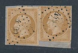 EC-701: FRANCE: Lot Avec N°13B Obl Pc 4490 Indice 23 (ROTHAU (83)) (2 Timbres Sur Mini Fragment) - 1853-1860 Napoleon III
