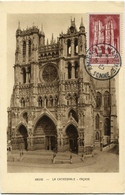 FRANCE CARTE MAXIMUM DU N°665 CATHEDRALE D'AMIENS AVEC OBLITERATION AMIENS 5-1-45 SOMME - 1940-49